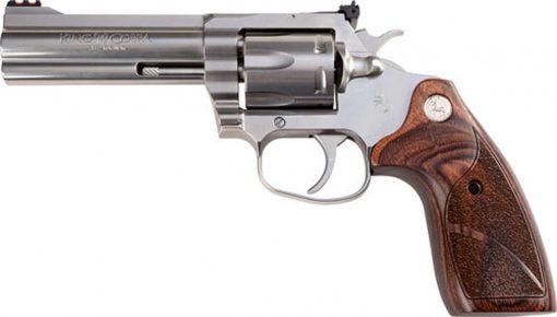 """Colt King Cobra Target Revolver, 357 Magnum/38 Special, 4.25"""" Barrel, Steel Frame, Stainless Finish, Altamont Wood Grips, 6Rd"""