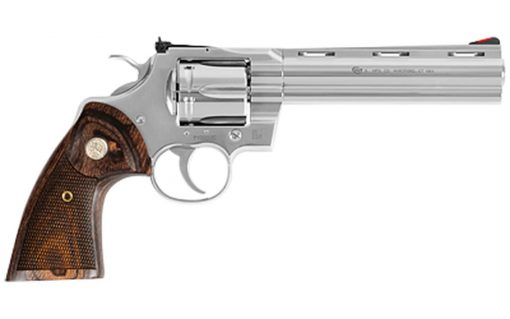 "Colt Python 357 Mag, 6"" Barrel, Stainless Finish & Frame, Walnut Grips Red Ramp Front/Adjustable Rear, 6rd"